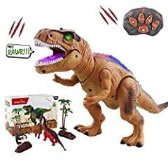 Idea Regalo - WISHTIME Dinosauro a Controllo remoto ElectricToy Kids RC Animal Toys LED Light Up Dinosaur Walking And Roaring Realistico T-Rex Robot Toys per i più Piccoli Ragazzi Ragazze