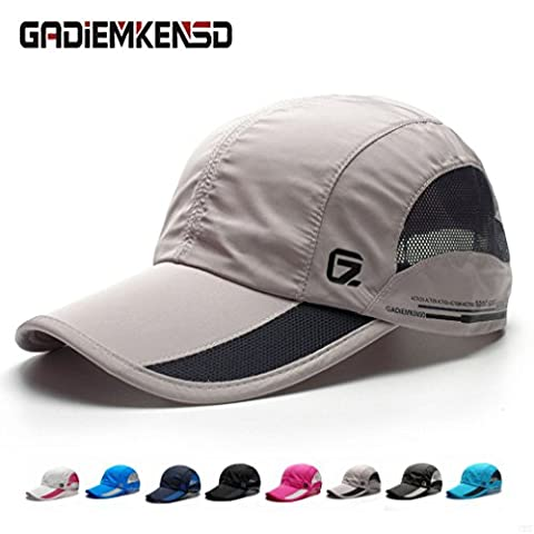 GADIEMENSS Quick Drying Breathable Running Outdoor Hat Cap Only 2 Ounces 10 Colors (Light Grey)