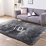 Yaer Faux Lammfell Schaffell Teppich 80 x 150 cm Wohnzimmer Teppiche Flauschig Lange Haare Fell Optik Gemütliches Schaffell Bettvorleger Sofa Matte