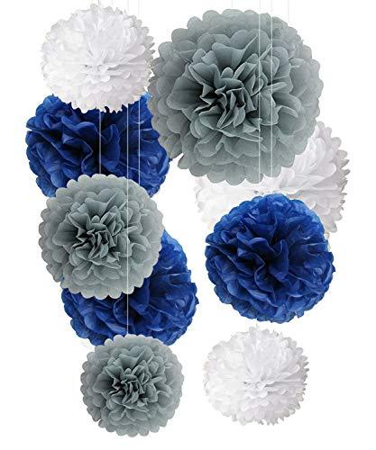 Seidenpapier Pom Poms Marine blau Grau weiße Dekorationen - 9 Stück 14