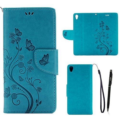 Sony Xperia XA Cover Protettiva, Alfort 2 in 1 Custodia in Pelle Verniciata Goffrata Farfalle e Fiori Alta qualità Cuoio Flip Stand Case per la Custodia Sony Xperia XA Ci sono Funzioni di Supporto e P Blu