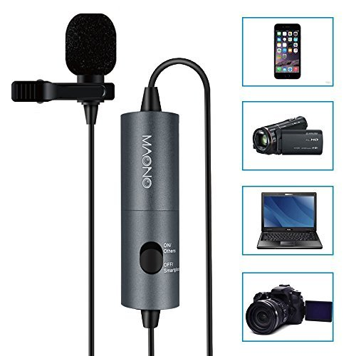 MAONO AU100 Graues Lavaliermikrofon, Freisprecheinrichtung Ansteckmikrofon mit Kugelkondensator für Kamera, DSLR, iPhone, Android, Samsung, Sony, PC, Laptop (236 Zoll / 20 Fuß)