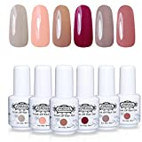 Lot Vernis à Ongles Gel Semi Permanent - Perfect Summer Soak Off UV LED Gel Nail Polish Manucure 6 Couleurs x 8ml Lot 01