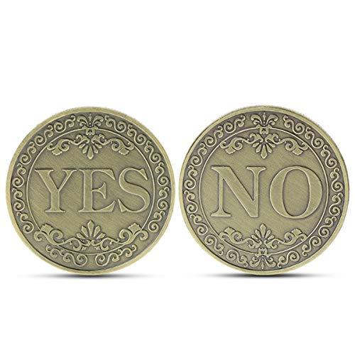 Hanpmy Decisión Lucky Coin Mini portátil Bronce en Relieve SÍ o NO Buena  Suerte Opción Conmemorativa Arte de la Moneda Regalo Decoración