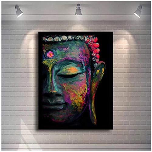 Buddha Abstrakt-Wandkunst Leinwand-Moderne Pop Street Wall Graffiti Kunst-Leinwand Buddha Gemälde-Buddhismus Bilder Wanddekor 60x90cm (ohne Rahmen)