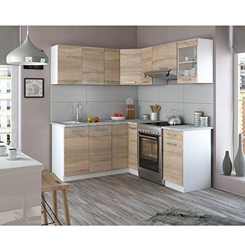 Winkelküche Küchenzeile 190 x 170 cm – Sonoma Eiche – Küche L-Form ...
