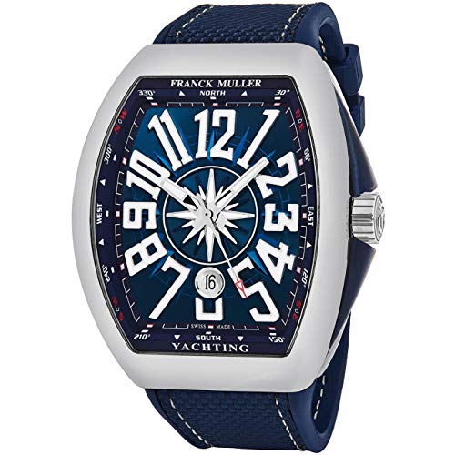Franck Muller Men's Vanguard Yachting Blue Rubber Band Steel Case Automatic...