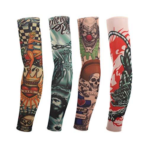 Temporäre Tattoo-Ärmel,Motorradhülle Sonnenschutz, 1Pcs New Cool Product 100% Nylon Elastic Tattoo Sleeves Fake Sleeve Body Arm Stockings Fashion Arm Stocking Temporary Tattoos W146