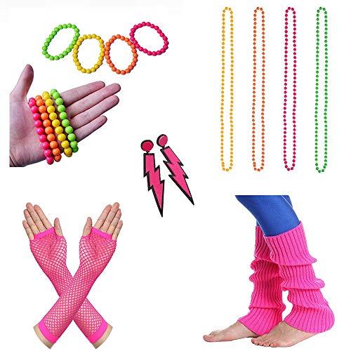 Cheerego 80er Jahre-Kostüm, 14 Stück, Mehrfarbig, Kunststoff, Neon-Perlen, Halsketten, Neon-Armbänder und Lange Fischnetz-Handschuhe, Zubehör-Set für Mädchen Damen und Frauen, 80er Jahre Party (Rave Mädchen Kostüm)