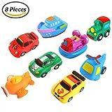 Keriber 8 Pack Flotante Juguetes para Baño de Goma Flotante Barco Vehículo Avión Baño Squirt Juguetes para Bebé o Niños
