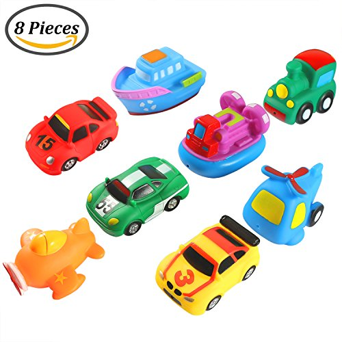 Keriber 8 Paket Schwimmdock Badespielzeug Gummi Schwimmende Boot Fahrzeug Flugzeug Bad Spritzen Spielzeug für Baby oder Kinder