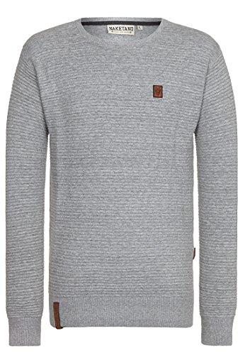 Naketano Male Knit Zapzarap Zip Zap V Grey Melange, L (Pullover Knit Zip)