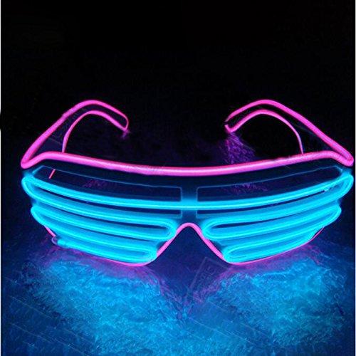 Fenghong Gladle EL Draht Rave Sonnenbrille LED leuchten Party Brille Rosa Kasten blauer Spiegel