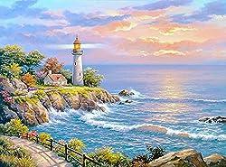 Wowdecor DIY Malen nach Zahlen Kits Geschenk für Erwachsene Kinder, Malen nach Zahlen Home Haus Dekor - Meer Wellen Leuchtturm Landschaft 40 x 50 cm ohne Rahmen