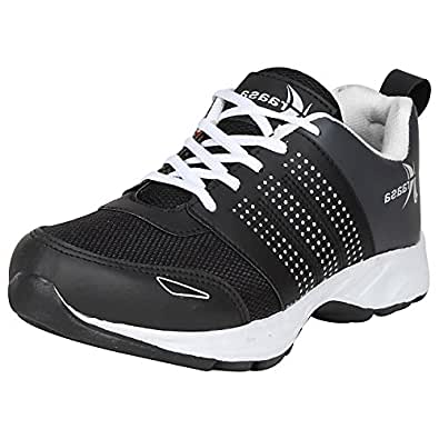 Kraasa 7053 Model Men's Black and Grey Synthetic and Mesh Running Sports Shoes , Size (UK 6)