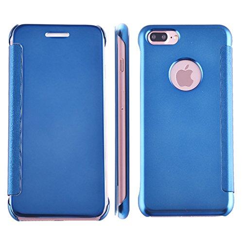 BCIT iPhone 7 Hülle - Luxus Elegant Glitter Smart Flip Ultra Slim Ansicht Galvanisierter Spiegel Hard Clear Transparente Telefon Tasche für iPhone 7 - Marine Blau Azur Blau