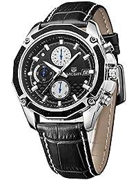 Megir Luxury Sports Piel para hombre 3Eye Dial analógico cronógrafo 6manos reloj de cuarzo Auto Fecha