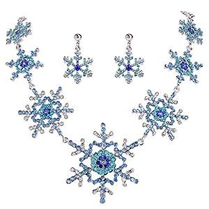 Ever Faith Österreichische Kristall Chirstmas Winter Schneeflocke Halskette Ohrringe Set Silber-Ton