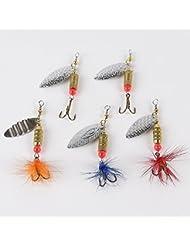 5Feinste Spinner 6g con Lock plumas, como cebo para truchas percas (spinner3)