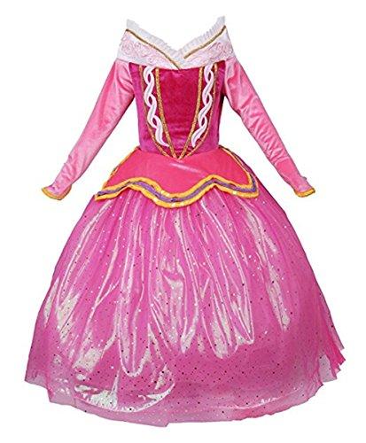 FAIRYRAIN Mädchen Prinzessin Kostüm Cosplay Halloween Aurora Kleid Karneval Faschingskostüm Festkleid Maxi Kleid 5-6 Jahre