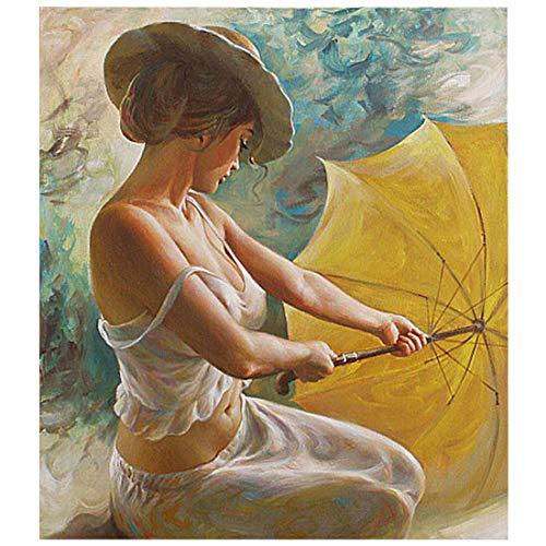 Wincy Shop DIY Figur Ölgemälde Malen nach Zahlen Kits auf Leinwand mit Acryl Farben für Erwachsene Anfänger, A Woman With Umbrella, Frameless - 2 Pack -