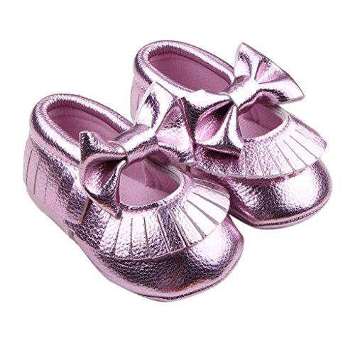 Longra Baby Mädchen Krippe Bowknotschuhe Kleinkind beiläufige Schuh PU Leder Lila
