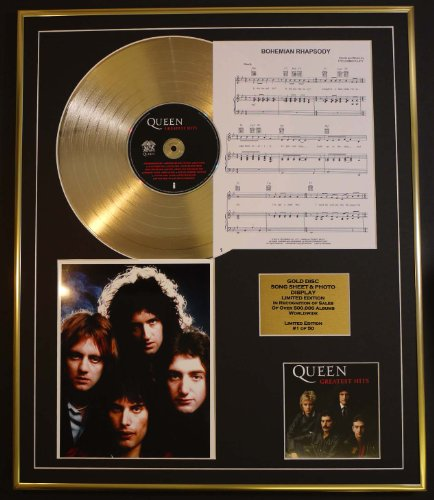 queen-cd-gold-disc-song-sheet-photo-display-ltd-edition-coa-album-greatest-hits-song-sheet-bohemian-