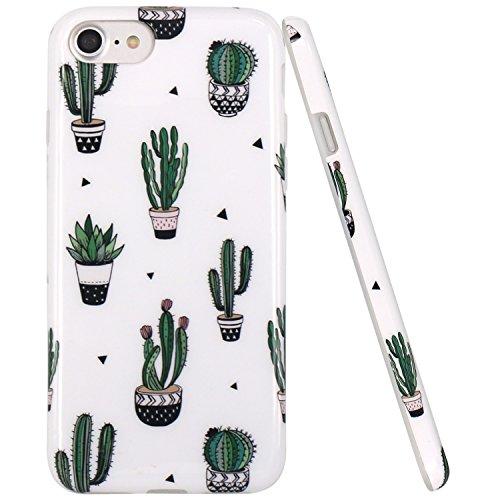 Coque iPhone 7, Coque iPhone 8, JIAXIUFEN Silicone TPU Étui Housse Souple Antichoc Protecteur Cover Case - Noir Or Marbre Désign Green Cactus