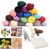 Filzwolle 20 Farben + Filznadeln Werkzeug Nadel Filzen Matte Starter Tool Kit -