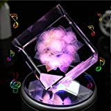liwuyou quadratisch Kristall 3D Rose Blume Colorful LED-Licht drehbar Spieluhr, rose, Bluetooth Base