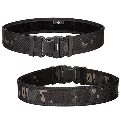 Selighting Taktischer Gürtel Verstellbar Nylon Molle Gürtel Militär Koppel für Airsoft Jagd Wandern Trekking (Camo schwarz) -