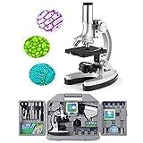 TELMU Mikroskop für Kinder und Anfänger, klein und hell Taschenmikroskop, 300X-600X-1200X, 70er Set Zubehör, mit LED-Beleuchtung und Klingen, Koffer und Vorbereitung inklusive