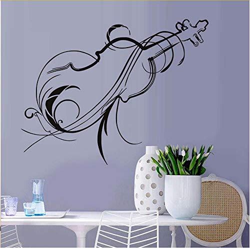gn Wohnkultur Blume Vinyl Kunst Violine Silhouette Wandaufkleber Musik Wohnzimmer Abnehmbare Sofa Hintergrundwand 76 * 58 Cm ()