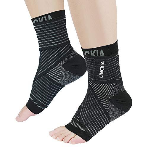 Bandage Fußgelenk set LINCKIA 2 in 1 Kompressionssocken Knöchel Bandage Sprunggelenk Fußgelenk Sprunggelenkbandagen Knöchelbandage für Damen Herren (L/XL, Black)