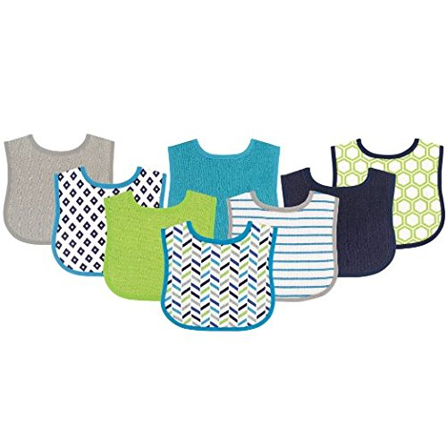 Luvable Friends Baby 8 Pack Bright Colours Dots Stripes Printed Drooler Bibs (Blue and Green)