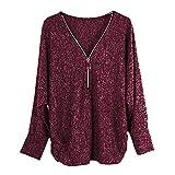 BHYDRY Frauen Langarm Knopf Bluse Pullover Tops Mit Taschen(EU-40/CN-M,Z-J-Weinrot)