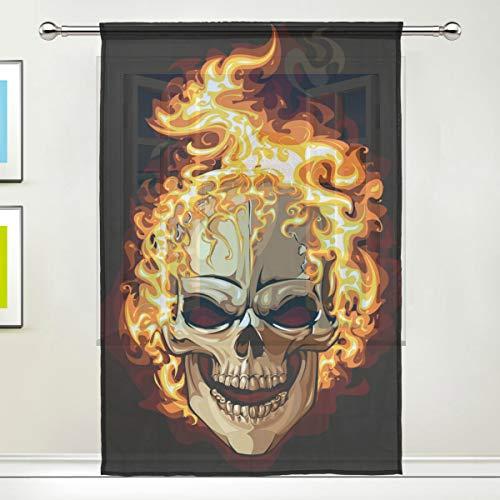 BIGJOKE Vorhang für Fenster, Halloween, mit Totenkopf-Motiv, für Küche, Wohnzimmer, Schlafzimmer, Büro, Voile, 1 Stück, Multi, 55x78 inches