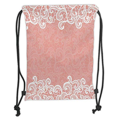 nted Drawstring Sack Backpacks Bags,Peach,Lace Design on Soft Colored Background Ornamental Pattern Wedding Inspired Image,Coral White Soft Satin,T ()