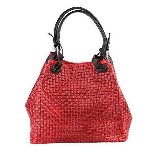 Frau Handtasche mit Schultergurt in echtem Leder geflochtenes Muster Made in Italy Chicca Borse 34x29x18 Cm Rot