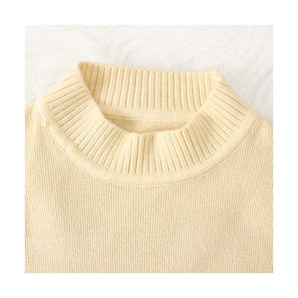 MEIbax Moda Casual Color sólido Baby Girl Suéter de Punto de Cuello bajo Niños Top de Manga Larga Suéter de Punto Niñas… 5