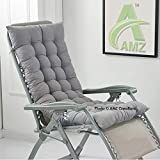 #9: AMZ Premium Microfibre Soft Home Cotton Cushion Long Chair Pad Cushion for Indoor/Outdoor Home Office Garden Decor (Grey,48 x 18 inches,Set of 1)