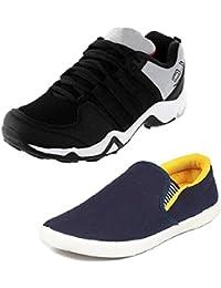 Tempo Men's Combo Pack of 2 Footwear (DANGAL BLK & SLV YLW)