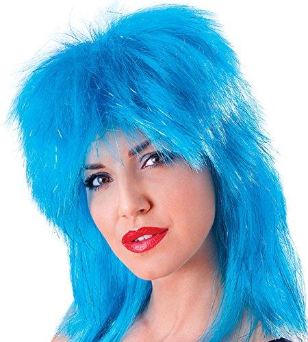 Damen Fancy 1980er Party Kleid Glam Rock Fake & Künstliche Lametta Tina Perücke UK Gr. Einheitsgröße, aqua