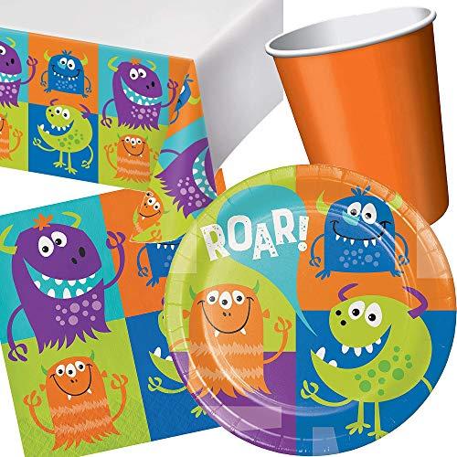 Carpeta 66-tlg. Party-Set * Monster * für Halloween & Kindergeburtstag | mit Teller + Becher + Servietten + Tischdecke | Kinder Geburtstag Motto süß Grusel