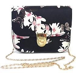 VJGOAL Damen Schultertasche, Frauen Mädchen Schmetterling Blumendruck Handtasche Schultertasche Messenger Mini Kleine Tasche Geschenk der Frau (17cm×14cm×7cm, Schwarz)