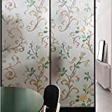 3D Nicht-Zusatz Fensterfilm Dekoration Privacy Elektrostatic Plant Flower Pattern Glasfilm,75 * 200cm