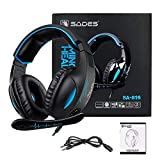 Gaming Headset for Xbox One, PS4, PC, Controller, Sades SA816 Over ear Headphones stereo surround sound, In-Line Control, Noise Cancelling Microphone Black Blue