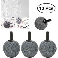 UEETEK 10 piezas de la forma de la bola de aire de piedra mineral difusor de burbujas difusores de aire para la bomba del tanque de peces de acuario hidroponía (20 mm x 20 mm)