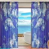 yibaihe Fenster Vorhänge, Gardinen Platten Fenster Behandlung Set Voile Drapes Tüll Vorhänge Marine Welt Qualle 198,1cm lang für Wohnzimmer Schlafzimmer Girl 's Room 2Platten, Textil, multi, 55