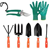 Kraft Seeds Gate Garden Spectacular Gardening Tools Set with Heavy Gardening Cut Tool and One Pair Hand Gloves (Orange Handle